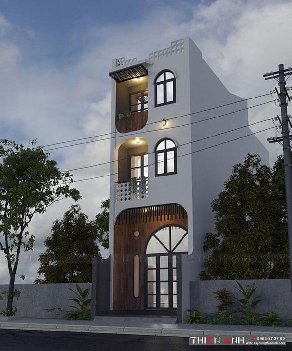 Kiến trúc mặt tiền đơn giản, ban công cửa sổ