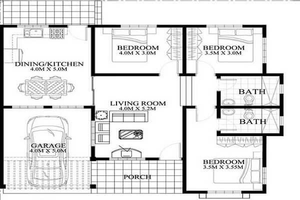 Bản thiết kế nhà mái thái 3 phòng ngủ - Có Gara