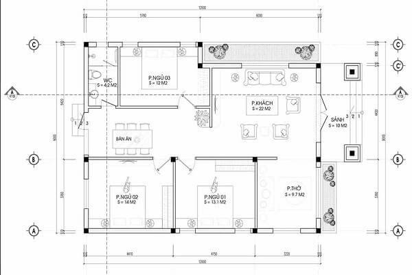 Bản thiết kế nhà mái thái 3 phòng ngủ - Kèm 1 phòng thờ