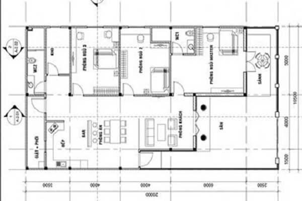 Bản thiết kế nhà mái thái 3 phòng ngủ - Nhà vườn trệt