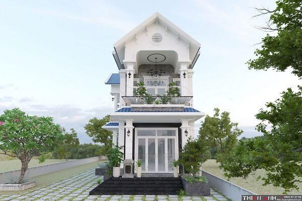 nhà mái thái gam màu trắng