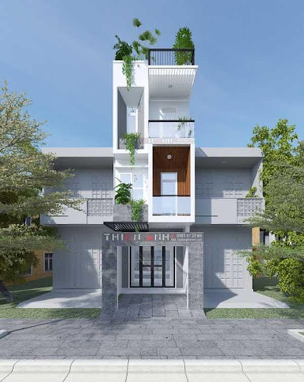 Mẫu nhà phố 4 tầng đẹp hiện đại gồm 1 trệt, 2 lầu, 1 sân thượng