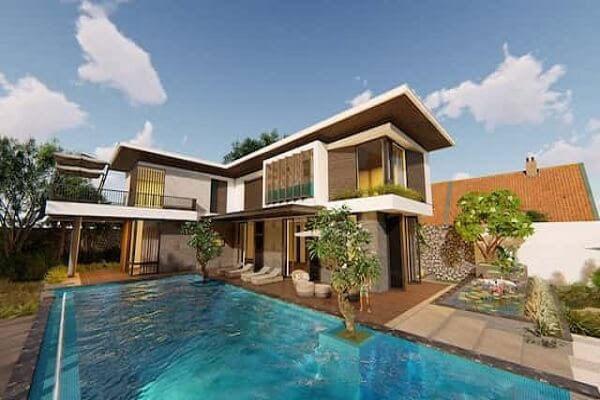 Mẫu thiết kế biệt thự hiện đại có bể bơi lệch một bên