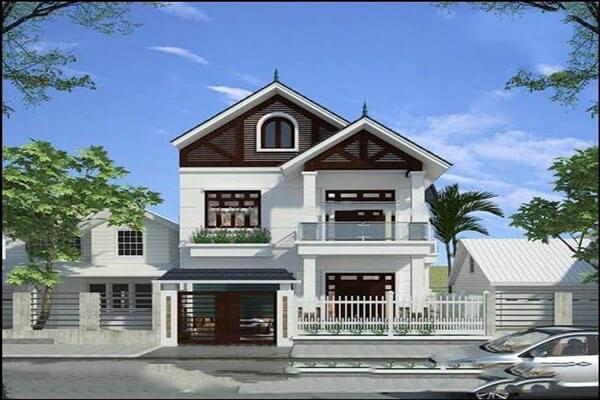 Mẫu Thiết kế nhà mái thái 2 tầng đơn giản